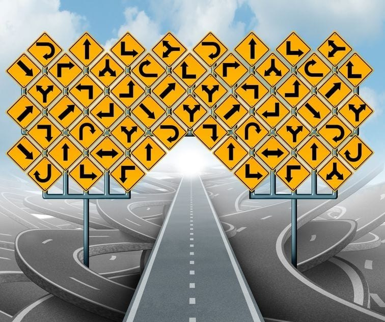 Roads and road signs going in confusing Directions. The road to Self-Publishing cleared up with education.