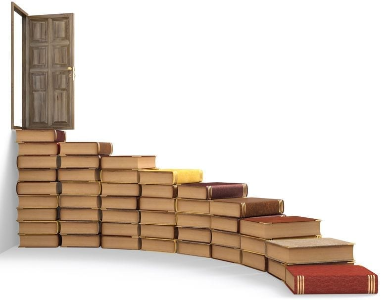 Self-Publishing Steps-Self-Publishing Checklist. Abstract steps made of books