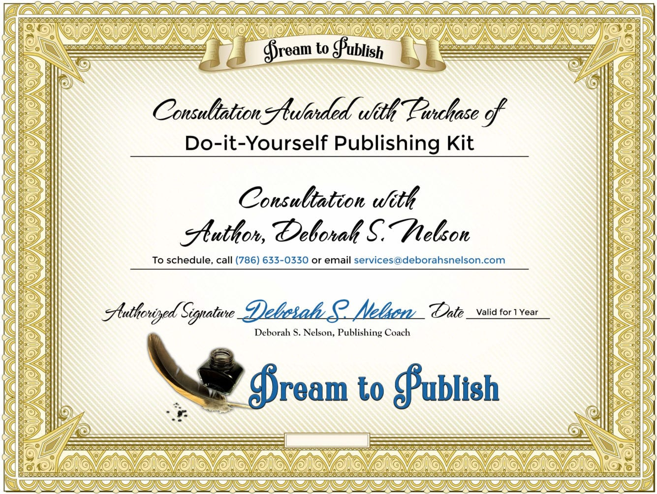Do-it-Yourself Publishing Kit Certificate
